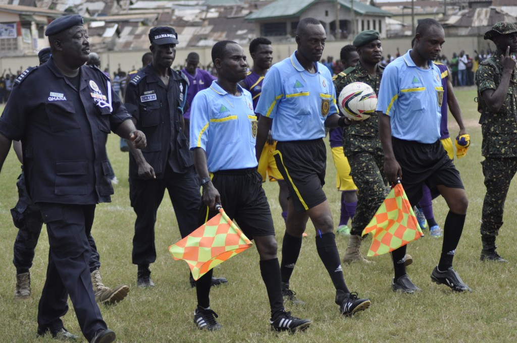 Referee John Atikese and his assistants