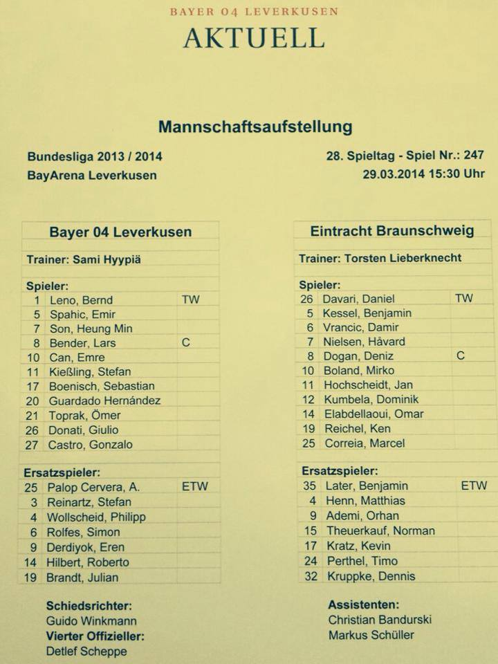 Team sheet for Leverkusen and Braunschweig