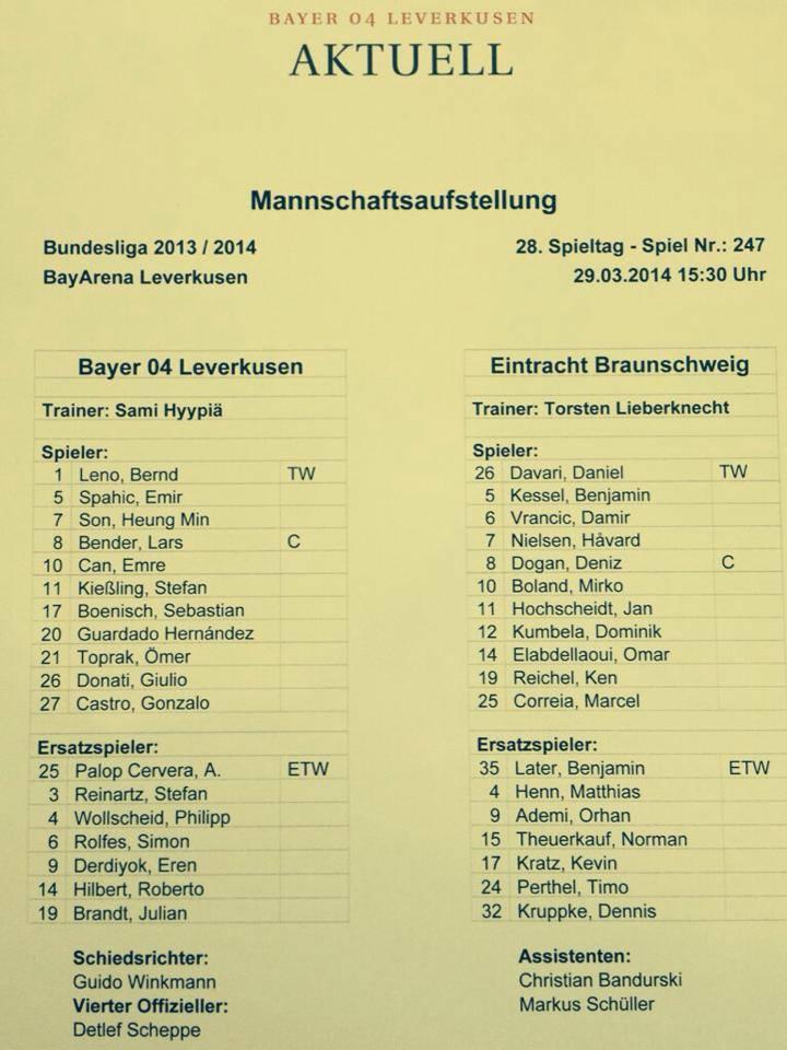 Team sheet for Leverkusen and Braunschweig