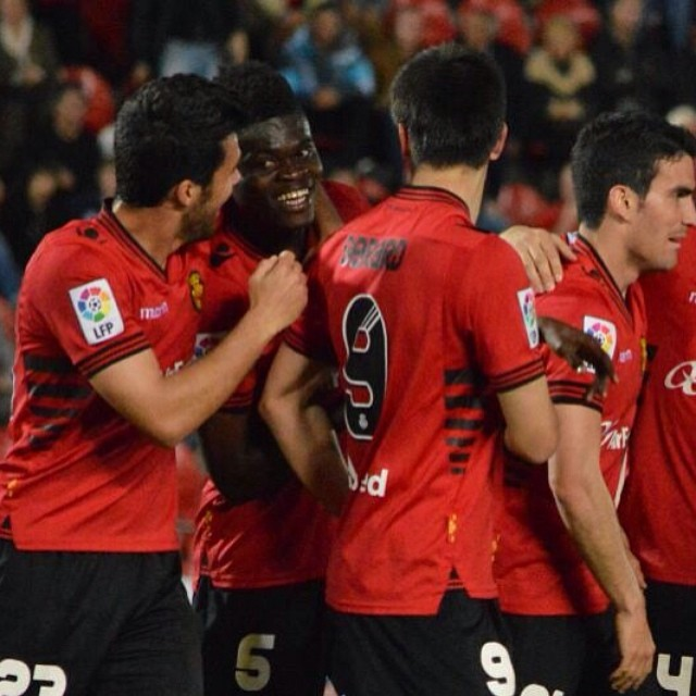 Thomas Partey mobbed by Mallorca team-mates scored his fifth goal of the season
