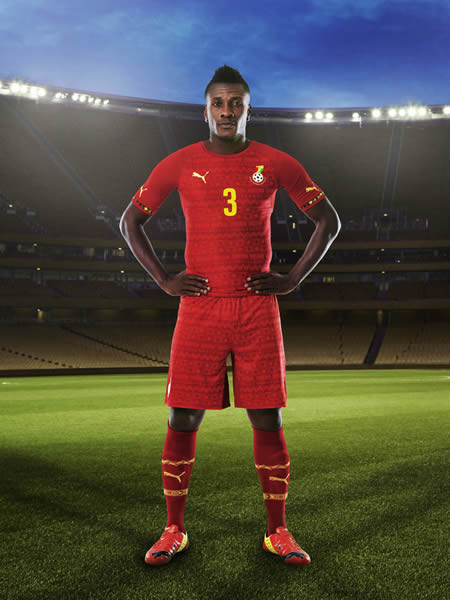 Asamoah Gyan in Ghana's away kit for the World Cup.
