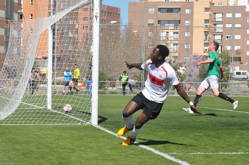 Zain Musah celebrating his goal in the Spanish fourth-tier