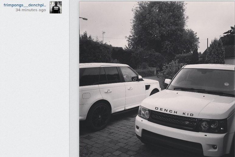 Emmanuel Frimpong decorates car with trademark 'dench' phrase