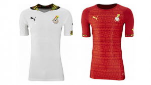 The home (left) and away (right) kits of Ghana:
