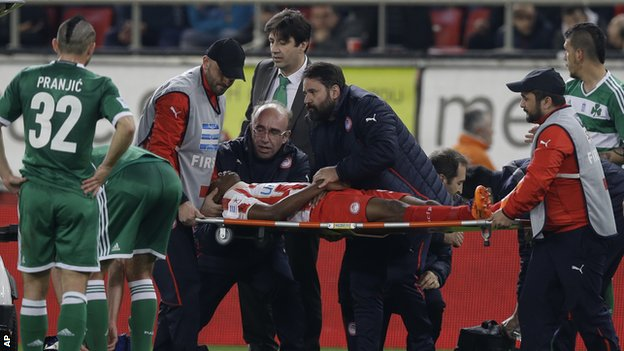 Michael Olaitan's condition not serious after Nigerian striker collapses at Greek Derby