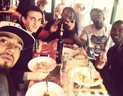 Kevin-Prince Boateng poses for the picture with his Black Stars teammates having lunch
