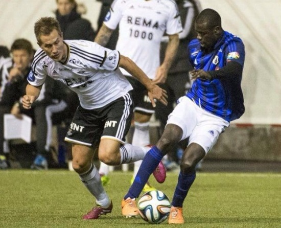Ghana youth star Enoch Adu Kofi in action for Stabaek