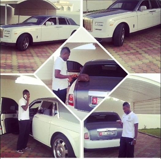 Ghana captain Asamoah Gyan with his new Rolls Royce Phantom