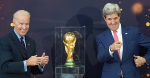 Biden and U.S. Secretary of State John Kerry unveiled the FIFA World Cup trophy