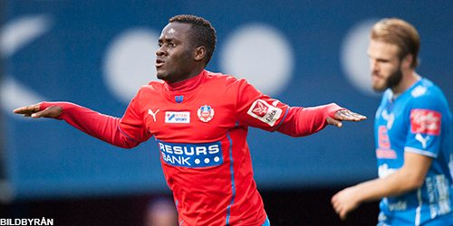 David Accam scored a double for Helsingborg IF