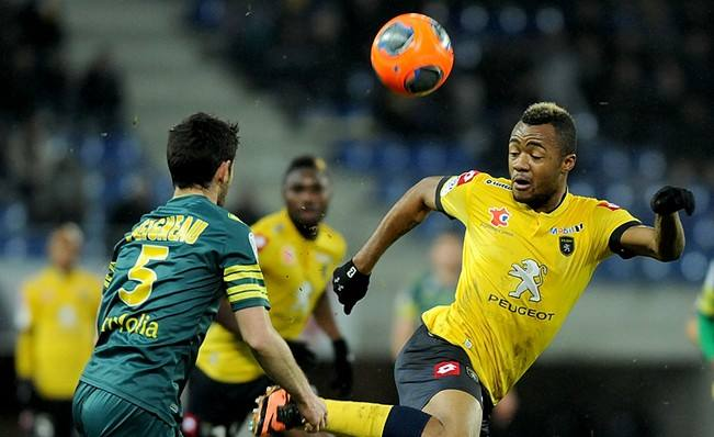 Jordan Ayew scored for Sochaux against Bastia in the French Ligue 1