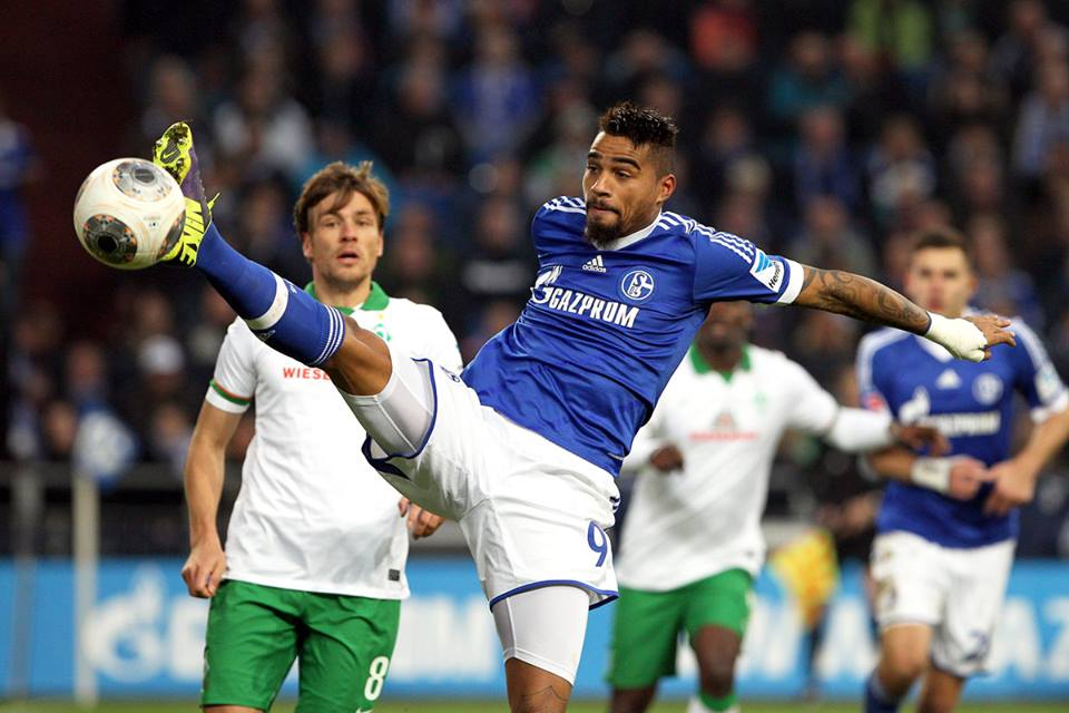 Kevin-Prince Boateng played for Schalke against Bremen on Saturday afternoon