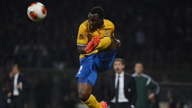 Kwadwo Asamoah in action against Lyon on Thursday night in the Europa League