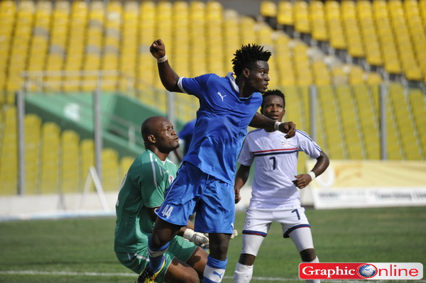 Heart of Lions defender Hudu Alhassan heading a ball.
