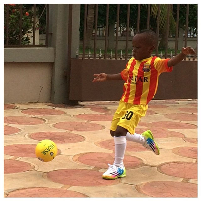Samuel Inkoom Jnr testing his power with a thunderous blasting of the ball