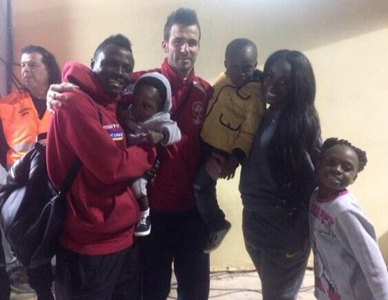 Samuel Inkoom and family with goal hero David Torres
