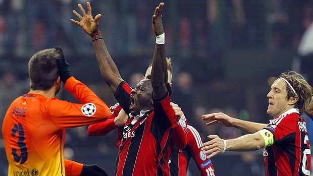 Sulley Muntari celebrates Champions League goal against Barcelona