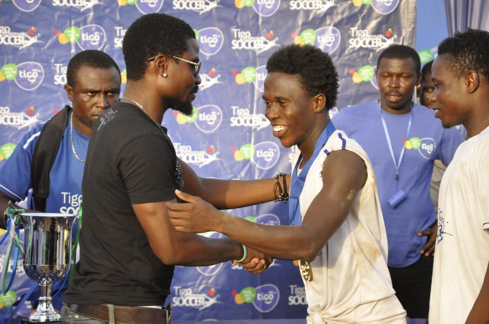 Laryea Kingston during the medal presentation.
