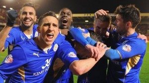 Ghana utility player Jeffrey Schlupp celebrated in grand style after his English club Leicester City were promoted to the Premier League on Saturday.