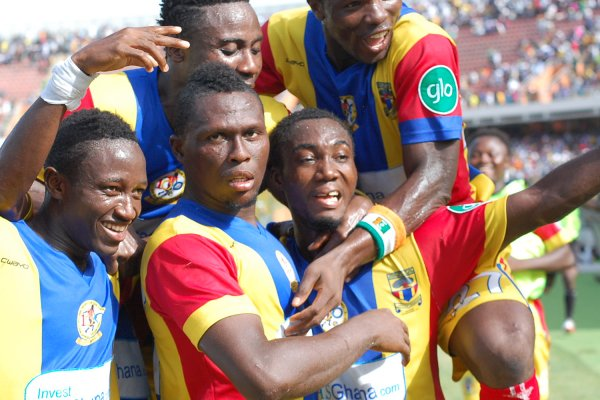 Gilbert Fiamenyo, second from left,  set to leave Hearts