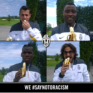 Asamoah and his Juventus team-mates have joined the Banana campaign