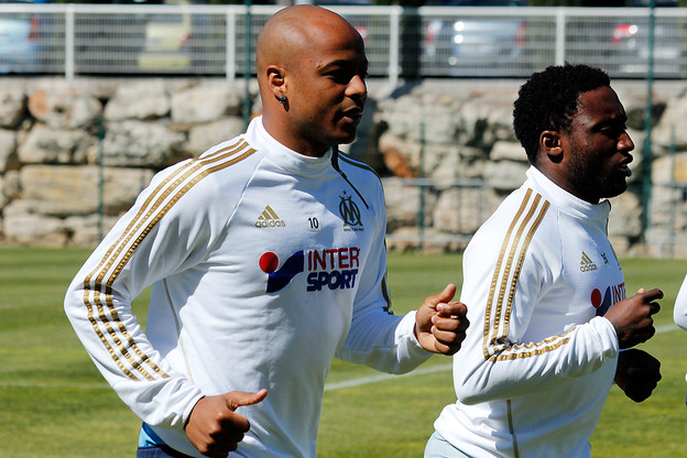 Andre Ayew training with Olympique Marseille