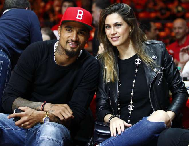 PICTURES: Kevin-Prince Boateng and fiancee Melissa Satta out to support designer Armani