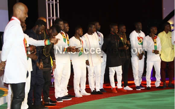 Black Stars players at the state dinner on Thursday