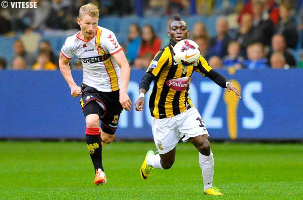 Christian Atsu, front with the ball, missed a penalty on Thursday evening while in action for Vitesse Arnhem against Groningen