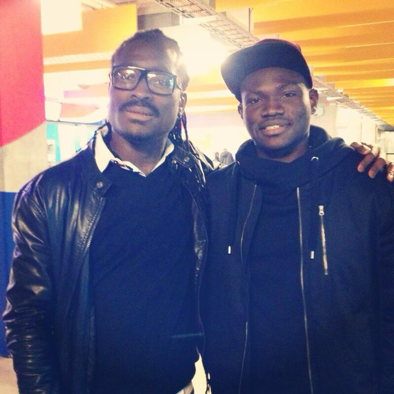 Derek Boateng with former Heart of Lions attacker Kwame Bonsu who plays for Swedish side