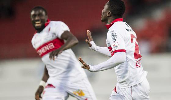 Ebenezer Assifuah celebrating with a team-mate is thrilled with his strike on Tuesday