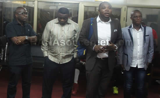 Ghana FA boss Kwesi Nyantakyi and Sports Minister Elvis Afriyie Ankrah saw the team off on Saturday night
