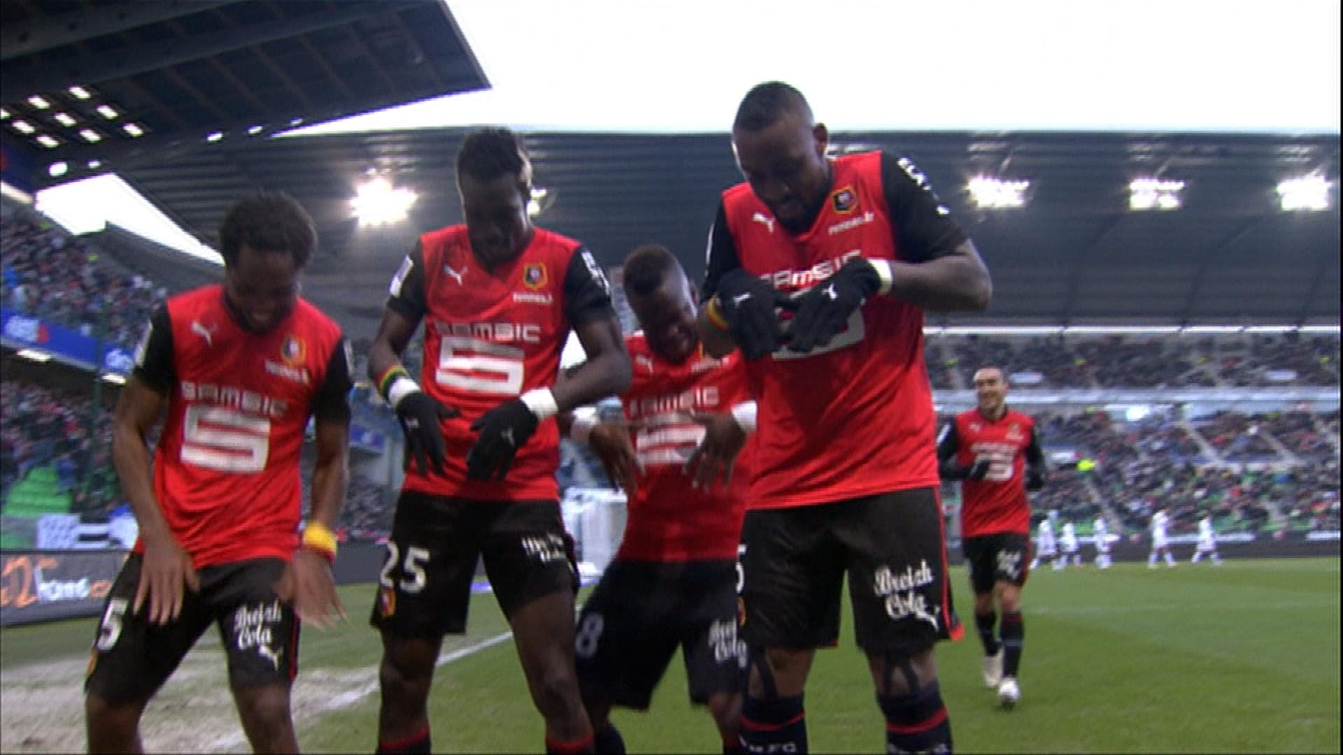 John Boye, middle, celebrating a goal with Stade Rennes