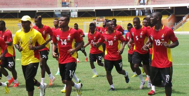 Jonathan Mensah training with his Black Stars teammates