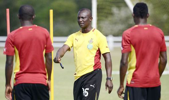 Kwesi Appiah taking charge of a training session.