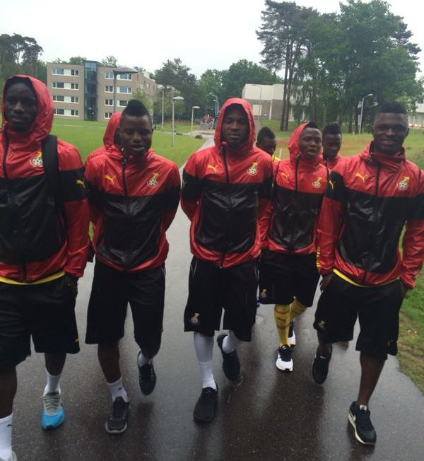 Black Stars players in their training kits