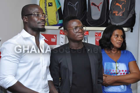 Stephen Appiah, Samuel Inkoom and CEO of the Puma shop Cindy Eghan watch on
