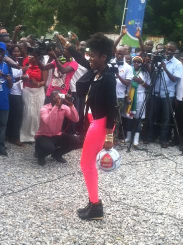 MzVee entertains the crowd at the launch