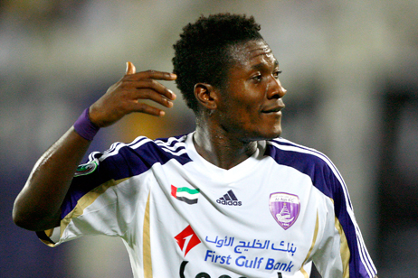 Ghana striker Asamoah Gyan gets the advantage in UAE top-flight goalking race