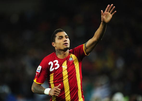 Kevin-Prince Boateng acknowledges the crowd after Ghana's loss to Uruguay at the 2010 FIFA World Cup.