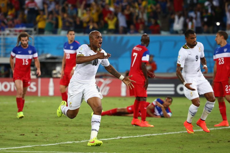 Andre Ayew celebrating debut World Cup goal
