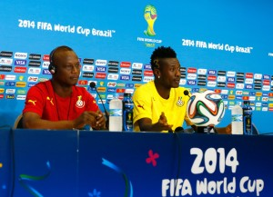 Head coach James Kwesi Appiah and Asamoah Gyan of Ghana speak to the media at Estadio das Dunas