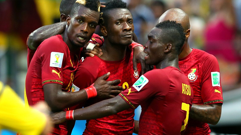 Asamoah Gyan scored Ghana's second in the 2-2 draw with Germany