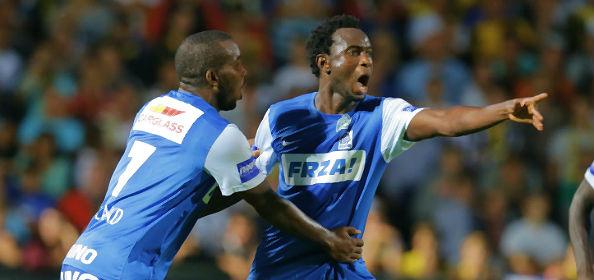 Bennard Kumordzi, right celebrating a goal, is set to join Chievo Verona