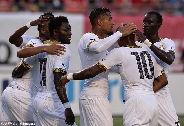 Black Stars celebrate goal