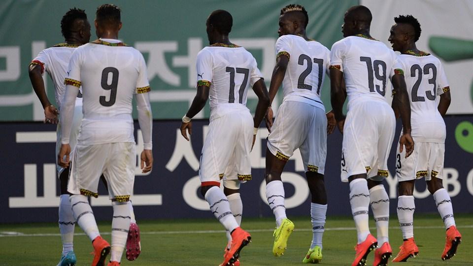 Black Stars celebrating a goal.