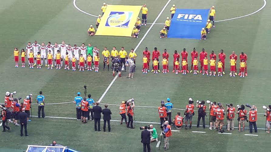 Both Germany and Ghana teams lining up for the observation of anthems