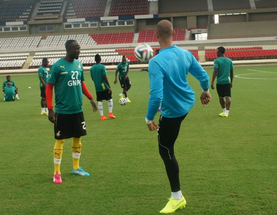 Ghana Black Stars in training on Tuesday afternoon