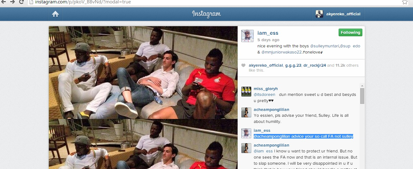 Essien posted a picture of himself and team-mates Wakaso Mubarak and Sulley Muntari and his reaction is highlighted