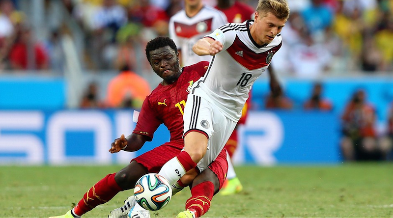 Toni Kroos of Germany controls the ball against Sulley Muntari of Ghana during the 2014 FIFA World Cup Brazil Group G match between Germany and Ghana at Castelao on June 21, 2014 in Fortaleza, Brazil. (Photo by Martin Rose/Getty Images)